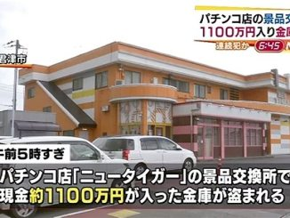 Several persons stole 11 million yen in cash from an exchange window of a pachinko parlor in Kimitsu City