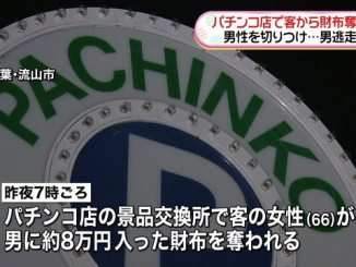 A pachinko parlor in Chiba Prefecture was robbed of 80,00 yen on Monday