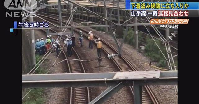 Television footage shows train tracks in Tokyo where a man being pursued for allegedly stealing underwear was spotted on Sunday (TV Asahi)