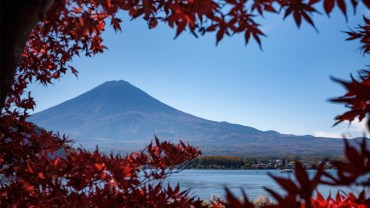 Red leaves, blue sky… but not a single snowflake on Mount Fuji