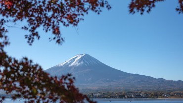 Same red leaves, but with a white-capped Fujisan