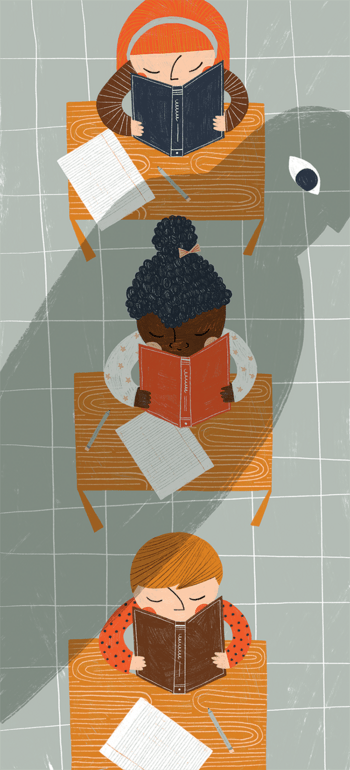 Illustration of a young student being loomed over by an overbearing shadow.