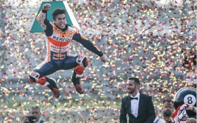 A man who celebrates as hard as he drives: Marc Marquez World Champion MotoGP