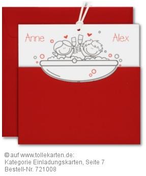 Einladung Zur Hochzeit Mit Brautpaar In Der Badewanne?