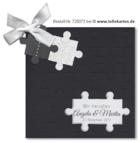 Hochzeitseinladung mit Puzzle-Teilen – Einladungskarten