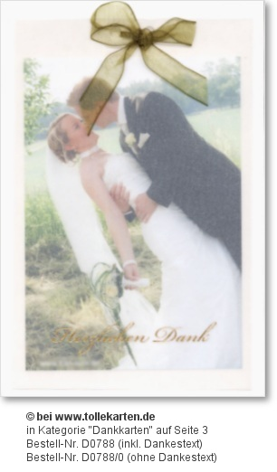Danksagungskarte zum Einkleben eines Hochzeit Fotos