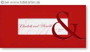 Einladung zur Hochzeit mit großem Und-Zeichen: