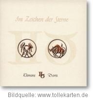 Hochzeitseinladung mit Tierkreiszeichen
