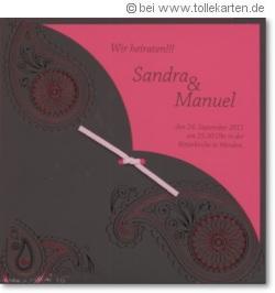 Hochzeitskarte 2010 in Pink und Anthrazit:
