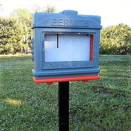 EZ Permit Box w/Window and Post & Post Spike Gray and Orange