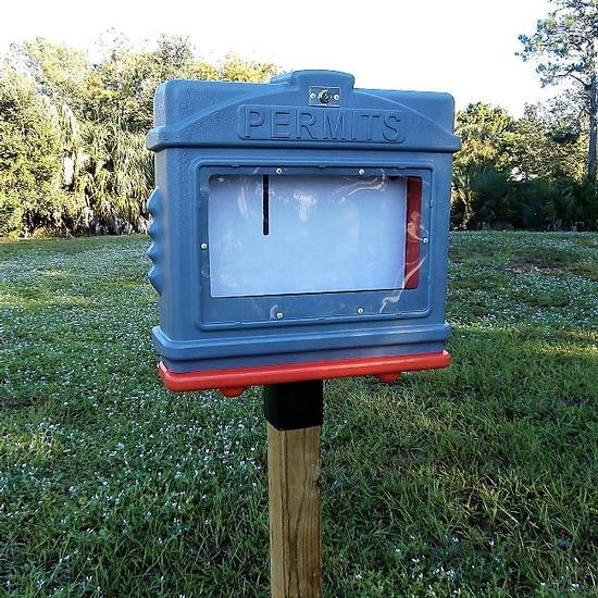 EZ Permit Box w/Window, Lock & 4x4 Post Adapter Gray and Orange