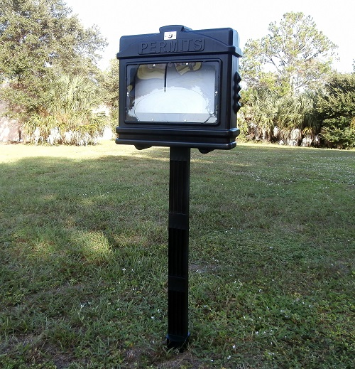 EZ Permit Box w/Window, Lock and Post & Post Spike Black and Black