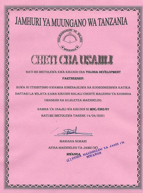 "Registrierungszertifikat für ""Toloha Development Partnership"" vom 14. April 2021"