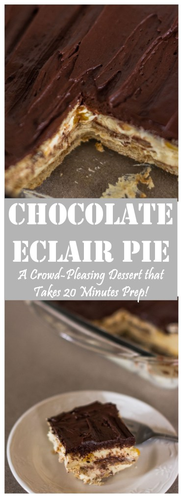 Chocolate Eclair Pie // A Crowd-Pleasing Dessert that Only Takes 20 Minutes to Prep!