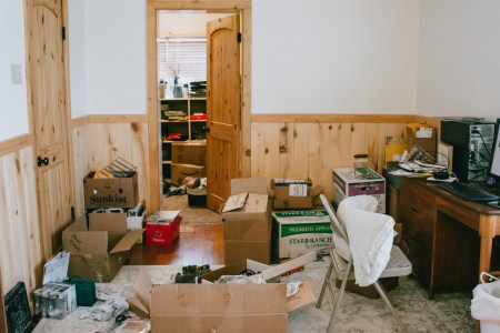 boxes to unpack and declutter