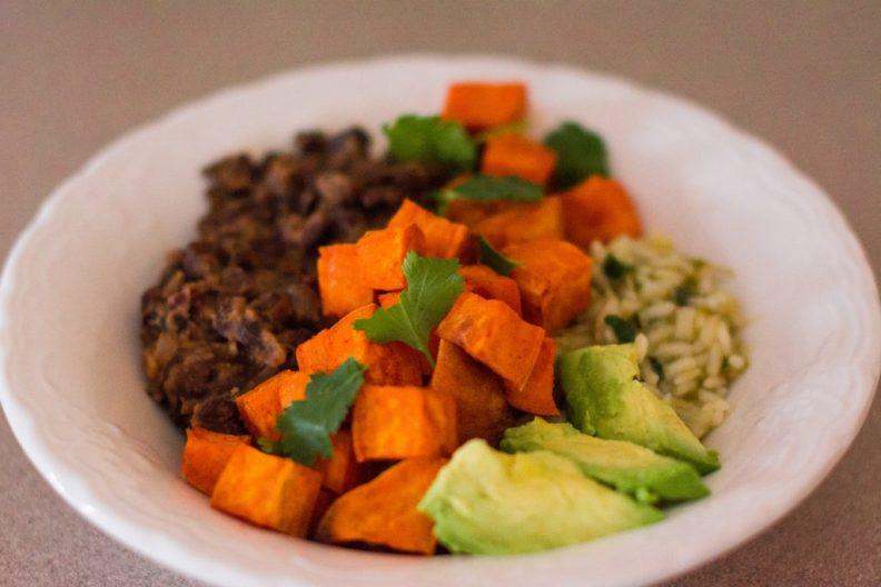 Black Bean + Sweet Potato Rice Bowls