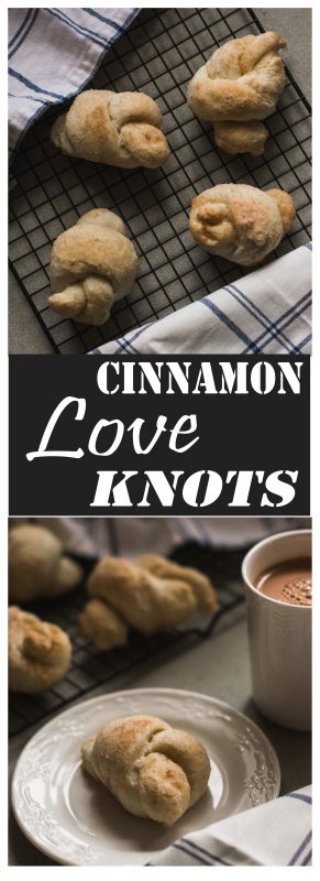 These fluffy cinnamon love knots are the perfect treat for a cold afternoon. They're even better with a hot cup of cocoa!