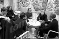 De derecha a izquierda: Anthony Braxton, Fernando Ortiz de Urbina, Pachi Tapiz, Diego Sánchez Cascado, Arturo Mora y Lalo Lofoco © Sergio Cabanillas, 2007