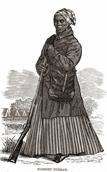 """Harriet Tubman Civil War Woodcut"" by woodcut artist not listed; W.J. Moses, printer; stereotyped by Dennis Bro's & Co. - Scenes in the Life of Harriet Tubman by Sarah H Bradford. Licensed under Public Domain via Wikimedia Commons - http://commons.wikimedia.org/wiki/File:Harriet_Tubman_Civil_War_Woodcut.jpg#/media/File:Harriet_Tubman_Civil_War_Woodcut.jpg"