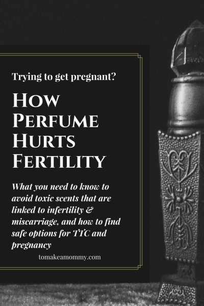 How the fragrance in perfume causes infertility and is linked to pregnancy complications and miscarriage. Why it is important to avoid phthalates when trying to conceive or struggling with infertility! Includes non-toxic phthalate free perfume options and a very easy DIY essential oil perfume scent recipe!