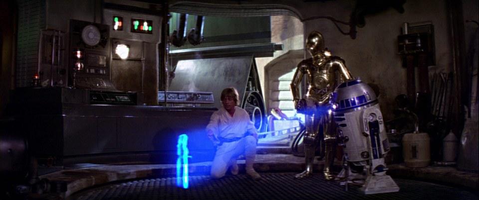 "Princess Leia says ""Help me, Obi-Wan Kenobi. You're my only hope."""
