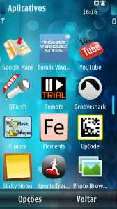 App no Menu do Symbian