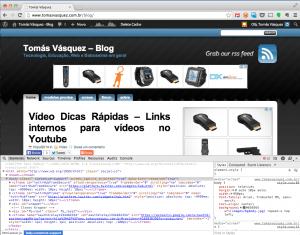 Chrome Dev Tools ativado