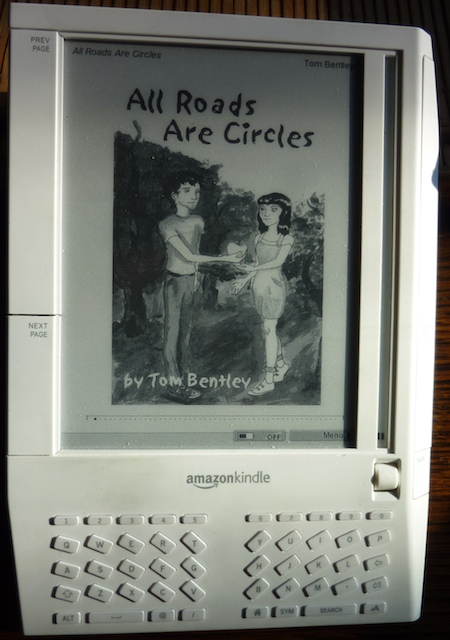 Image of Kindle with All Roads Are Circles onscreen