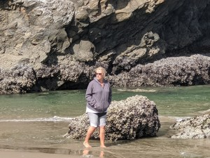 Sandy strolling along Cannon Beach Oregon