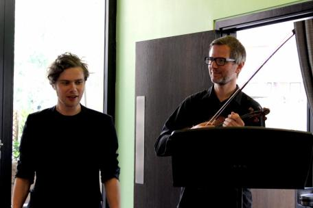 With London Sinfonietta's Jonathan Morton at premiere of Études III & IV, King's Place London, July 2014