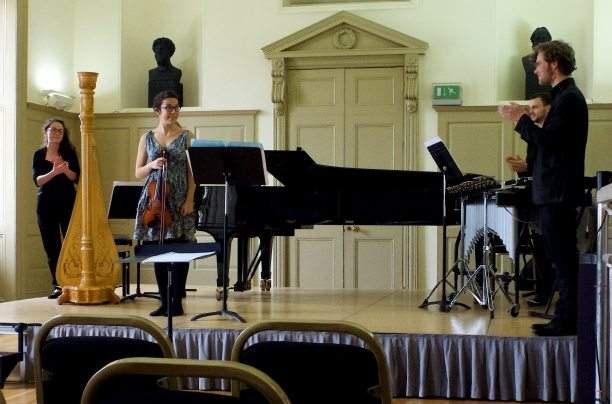Sarah Hill takes a bow at premiere of 'Sparking & Slipping', Trinity Laban, September 2014