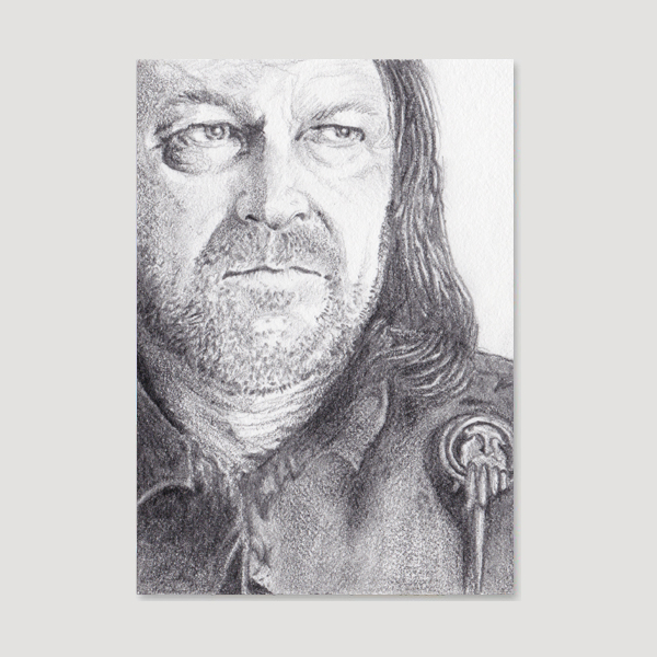Ned Stark Sketch Card by Tom Deacon