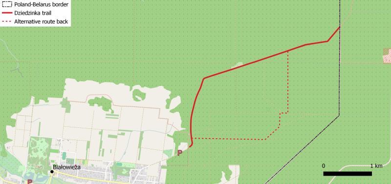 Belarussian border trail map