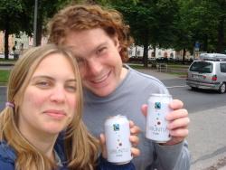 Tom and Chloe drinking Ubuntu Cola in Stockholm