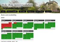 Screenshot of the stoke row accommodation website