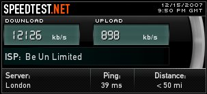 screenshot of our connection speed, 12MB down and 1MB up