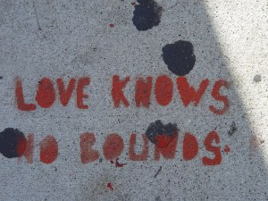 Sidewalk Stencil: Love knows no bounds
