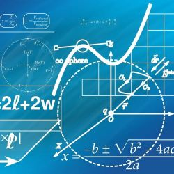 Abstract scientific plots and equations