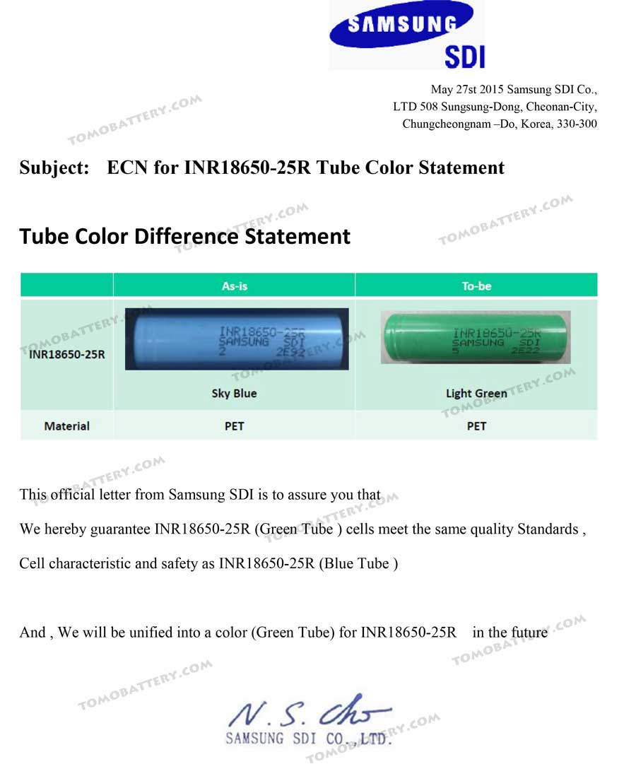 ECN-for-INR18650-25R-Tube-Color-Change