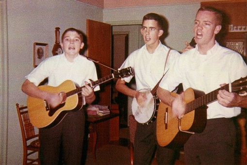Tim, Tom and Ron rehearsing before our first gig ever - a Lion's Club Christmas party for kids