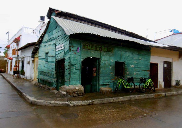 An old green wood shop in Getsemani, Cartagena de Indias