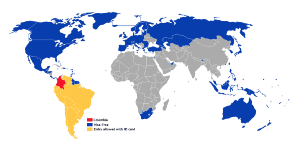 Colombia Visa each country