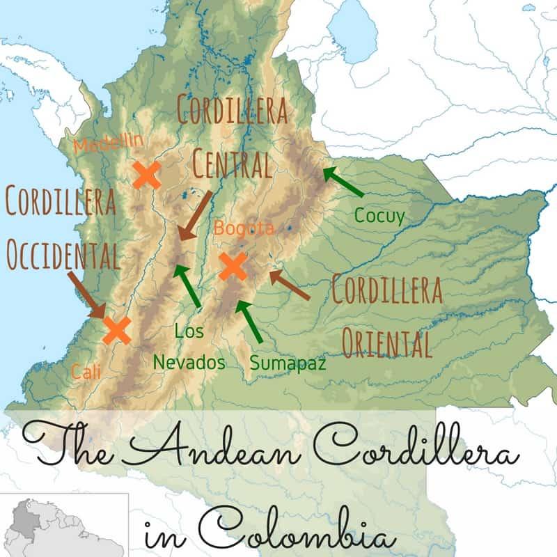 Andean Cordillera in Colombia