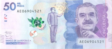Gabo's face is on the 50 000 COP Banknote of Colombia