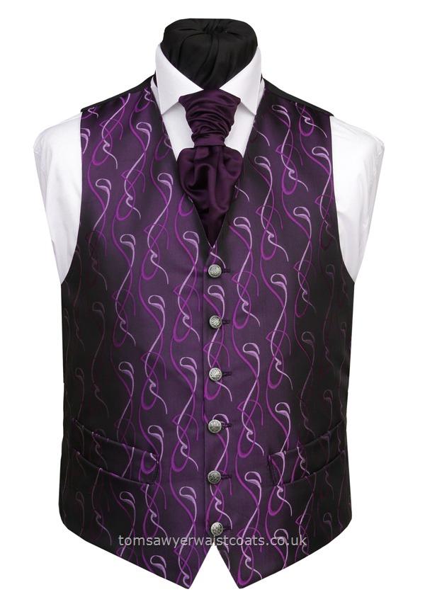 DEEP PURPLE With Purple Swirls Waistcoat Wedding
