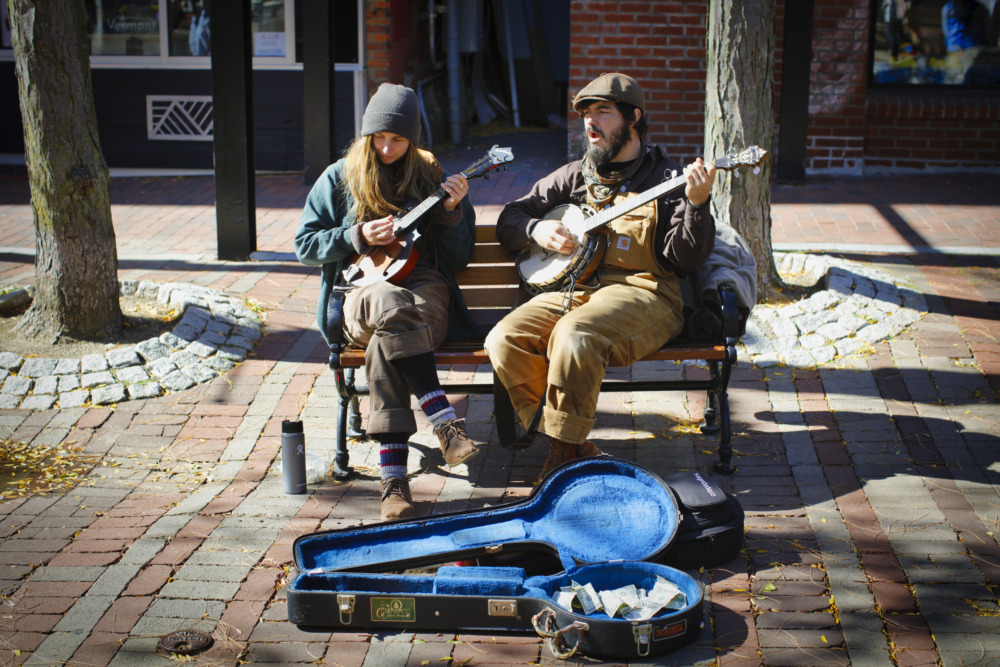 Musicians On A Bench