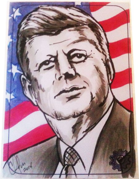 Hand drawn art of President John F. Kennedy