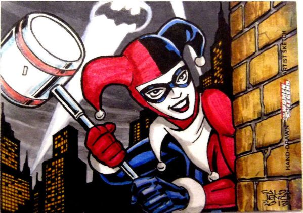 Sketch Card Artist of the Day 5/23/15 - Artist Jason Saldajeno Gorgeous SketchCard Sketch Card of Harley Quinn from the Batman Universe