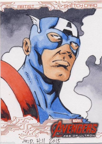 2015 Upper Deck UD Age of Ultron Sketch Card Hill captain america Sketch Card Artist