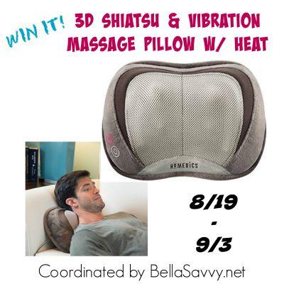 HoMedics 3D Shiatsu & Vibrations Massage Pillow with Heat Giveaway Ends 9/3